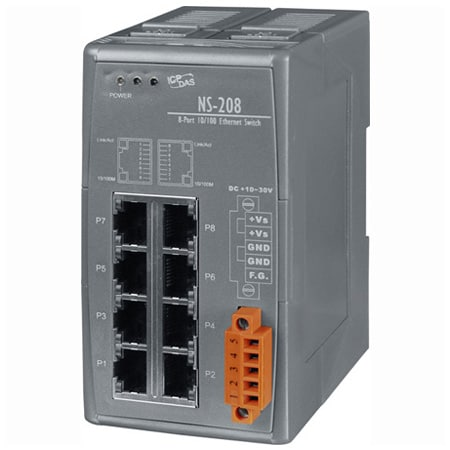 8-port Industrial 10/100 Mbps Unmanaged Ethernet Switch,DIN rail