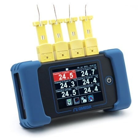 Six Channel Handheld Temperature Data Logger and Built-In Rechargeable Battery