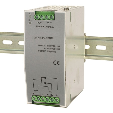 Power Supply Redundancy Buffer Module DIN Rail Mount w/ Relay Out