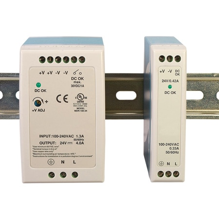 Power Supplies, Space Saving DIN Rail Mounting, 10 to 100Watt for 5, 12, 24 & 48 VDC