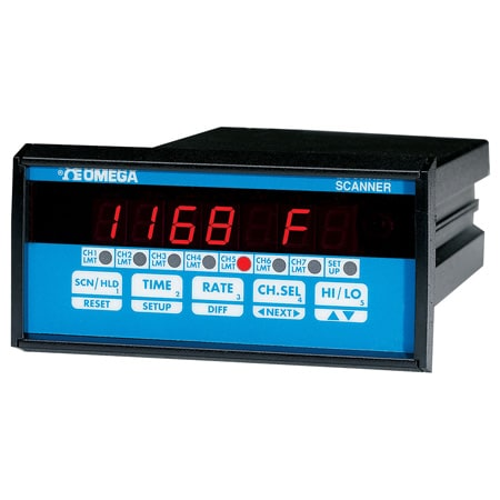 1/8 DIN 4 & 7-Channel Temperature or Process Scanner with Optional Outputs