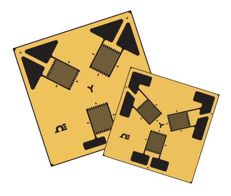 3 Element, 45° and 60° Delta Rosette Strain Gauges