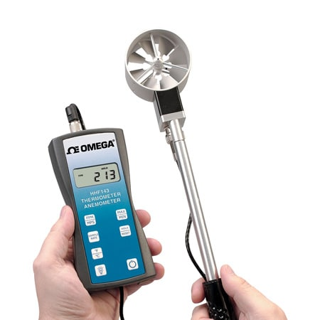 Precision Handheld Rotating Metal Vane Thermo-Anemometer Kit