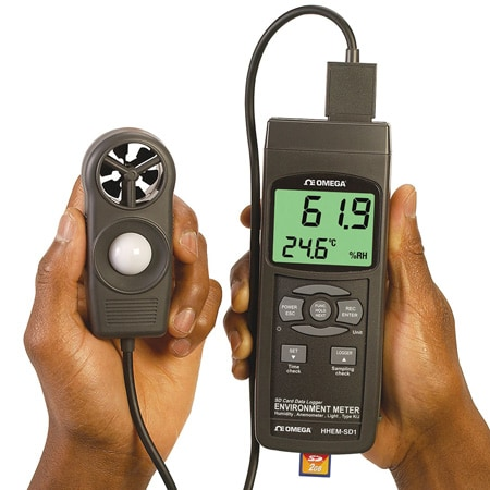 Handheld Air Speed, Temperature, Humidity & Light Meter