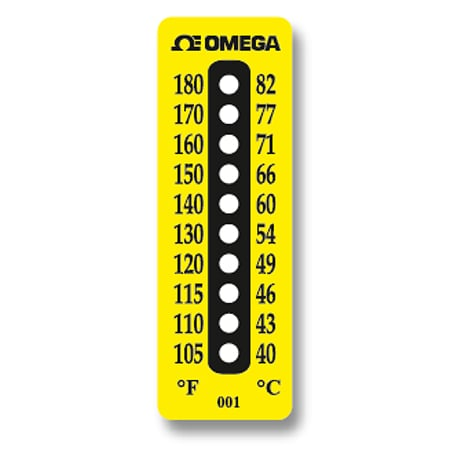 Non-Reversible Temperature Labels, 10 Temperature Ranges