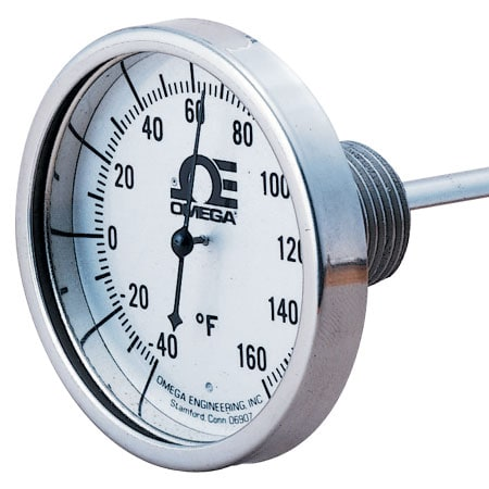 """1.73"""" Dial Bimetal Hermetically Sealed Thermometer Various Mounts"""