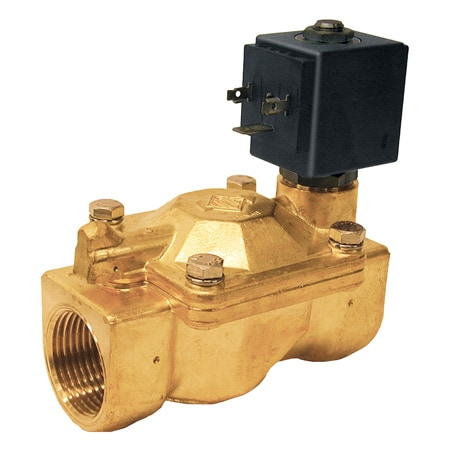 2-Way, NC, Pilot Operated, Brass, Solenoid Valves