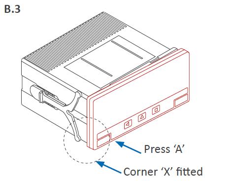 Fit corner X and clip A B3