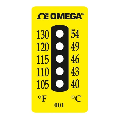 5 Dot Water Resistant Non-Reversible Temperature Label