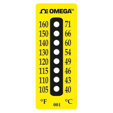 8 Dot Water Resistant Non-Reversible Temperature Label